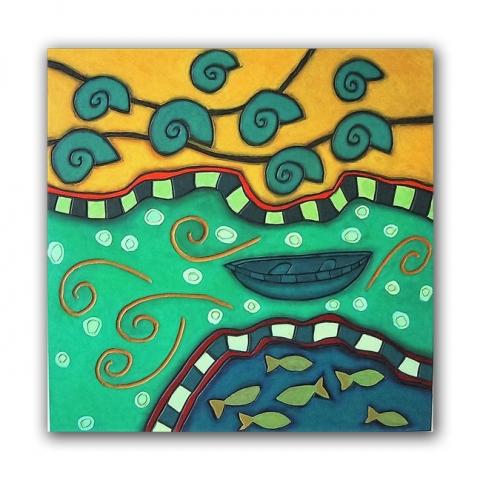 Dos aguas, paneel, 60x60 cm, 2006. Diana van Hal.