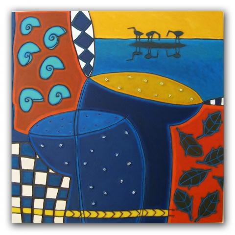 Oase, paneel, 100x100 cm, 2007. Diana van Hal.