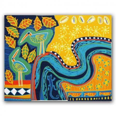 Amazon, lino 57x47 cm, 2012. Diana van Hal.