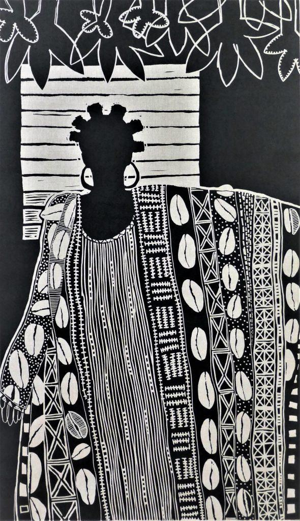 Intervision, lino gedrukt op linnen, opgespannen en ingelijst 165 x 95 cm. Diana van Hal, 2018