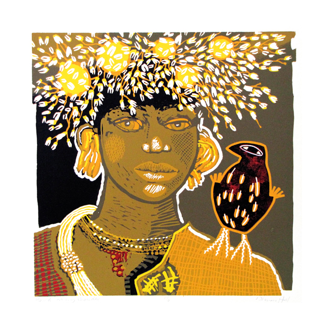 Bird on my schoulder, lino 44 x 44 cm, 2015. Diana van Hal.