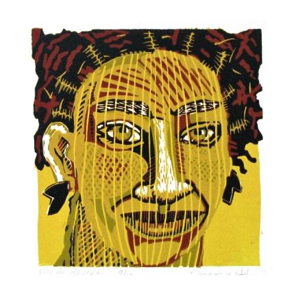 Desert song, lino 20 x 20 cm, 2012. Diana van Hal.