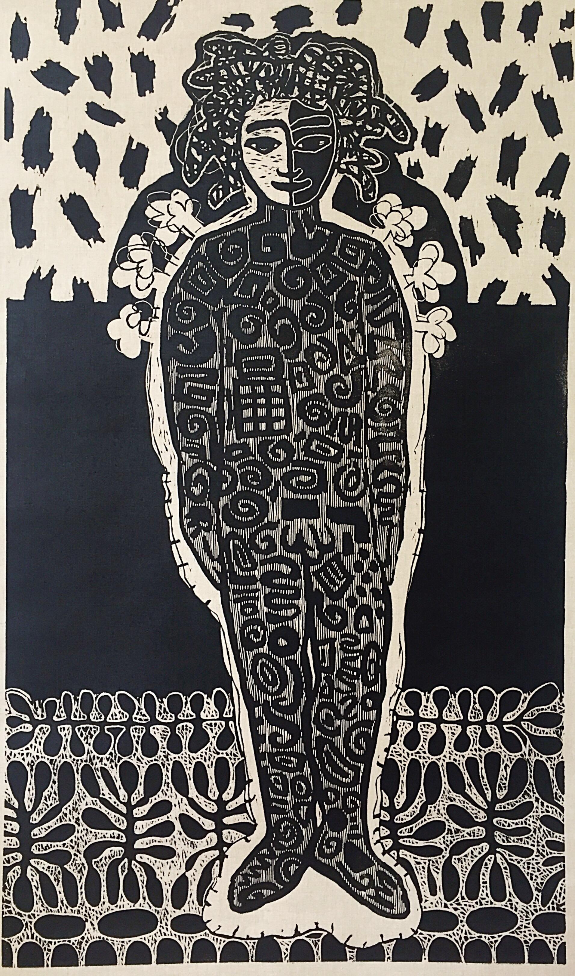 All Described, lino gedrukt op linnen, opgespannen en ingelijst 165 x 95 cm. Diana van Hal, 2018