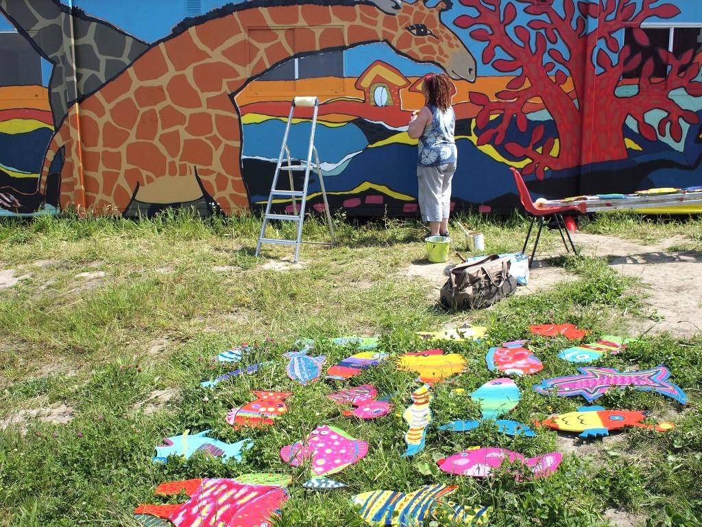 Giraffity, muurschildering, kunstrand, diana van hal